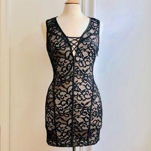 Bebe Nude & Black Lace Bodycon Sexy Party Dress Sm